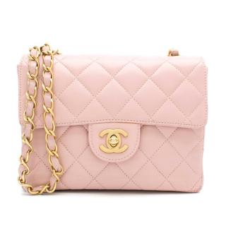 Chanel Pink Quilted Mini Square Flap Bag