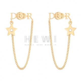 Dior Gold Tone Logo Chain Earrings