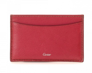 Cartier Red Goatskin Leather Card Holder
