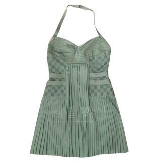 Balmain Mint Green Halterneck Pleated Dress