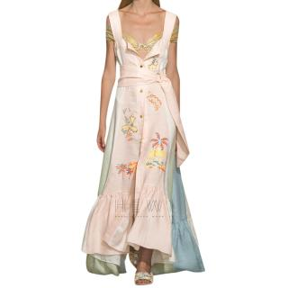 Peter Pilotto embroidered paneled linen maxi dress