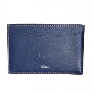 Cartier Blue Goatskin Leather Card Holder