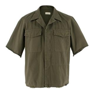 Dries Van Noten Khaki Short-Sleeve Distressed Shirt