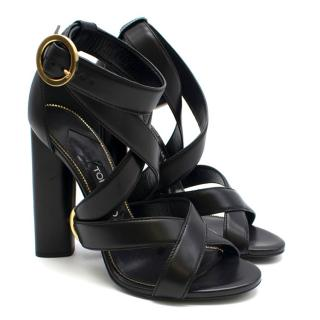 Tom Ford Black Ankle Wrap Sandals