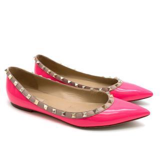 Valentino Rockstud Pink Patent Point Toe Flats