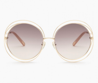 Chloe Carlina Round Gold Sunglasses