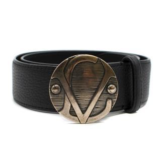 Louis Vuitton Black Leather Aged Plaque Belt