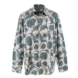 Burberry Men's Blue Floral Button Down Shirt