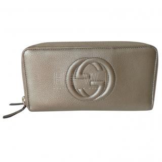 Gucci Metallic Gold Double Zip Wallet