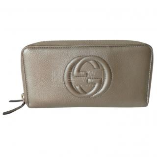 Gucci Metallic Gold Double Zip Wallet