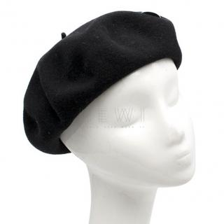 Saint Laurent Black Wool Je Te Quitte Beret