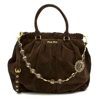 Miu Miu Brown Suede Tote W/ Jewelled Strap