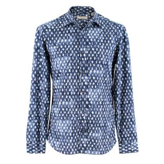Burberry Blue Leaf Print Button Down Shirt