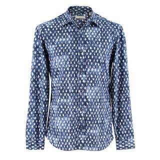 Burberry Blue Leaf Print Button Down Shirt