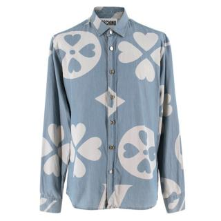 Moschino Couture Heart Print Chambray Shirt