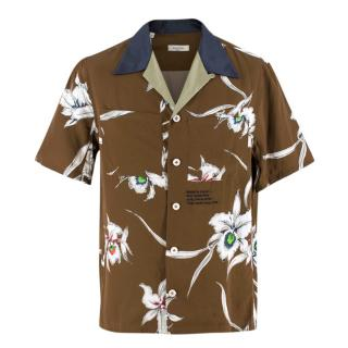 Valentino Brown Short-Sleeved Floral Shirt