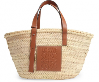 Loewe Natural Leather-trimmed Raffia Tote Bag
