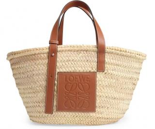 Loewe Natural Leather-trimmed Raffia Tote Bag