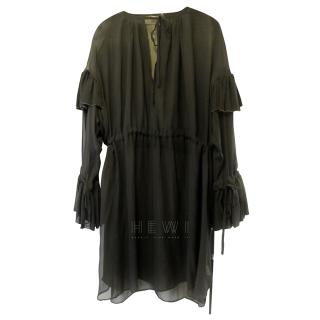 Dries Van Noten black silk chiffon dress