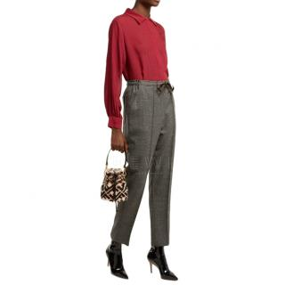 Fendi Embroidered Red Silk Blouse