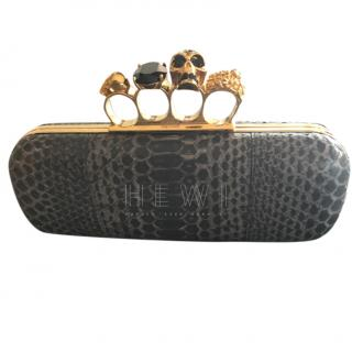 Alexander McQueen Black Python Knuckle Duster Clutch