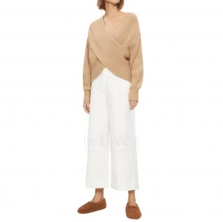 Rosetta Getty Ribbed Knit Cashmere Wrap Style Top