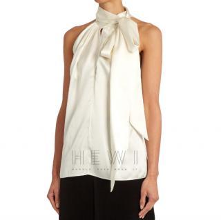 Saint Laurent Silk Tie-Neck Sleeveless Top