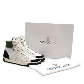 Moncler Black & White Leather & Suede High Top Sneakers