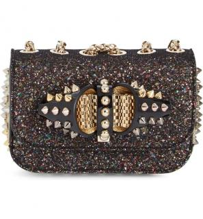 Christian Louboutin 'Sweet Charity' Glitter Spike Shoulder Bag