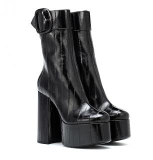Saint Laurent Billy eel-skin platform ankle boots