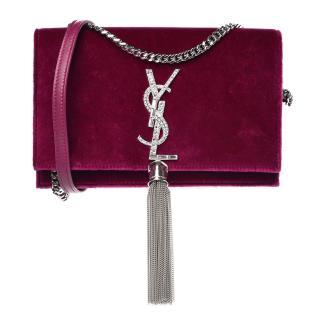 Saint Laurent Red Velvet Crystal Monogram Kate Bag