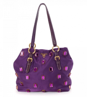 Prada Anemone Tessuto Pietre Jeweled Tote Bag