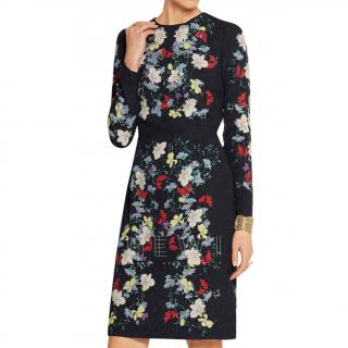 Erdem Navy Evita 3D Flower Embellished Dress