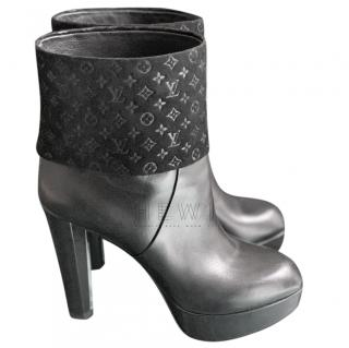 Louis Vuitton Suede Monogram & Leather Platform Ankle Boots
