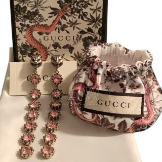Gucci Pink Tiger Crystal-Embellished Earrings