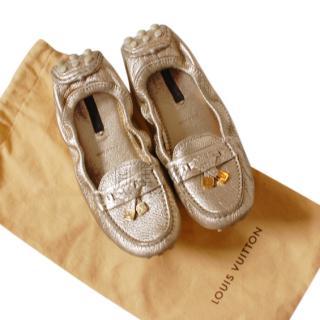 Louis Vuitton Metallic Gold Strech Ballerina Flats