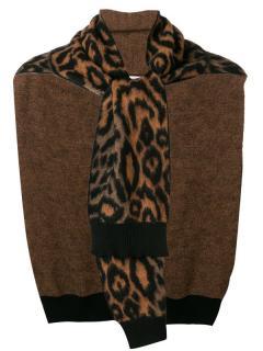 Sonia Rykiel leopard print wool half sweater scarf
