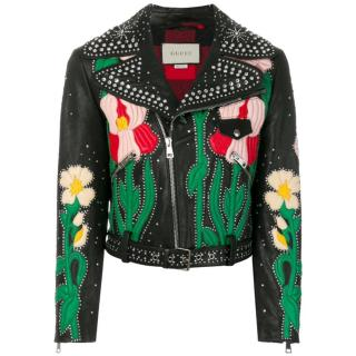 Gucci Embellished & Embroidered Hand Painted Leather Biker Jacket