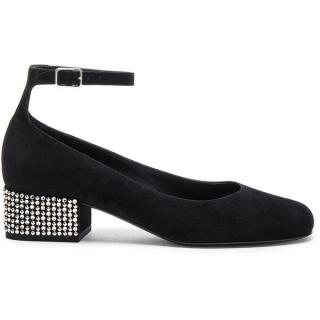 Saint Laurent Babies Suede Studded Ankle Strap Pumps