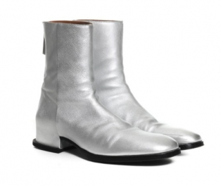 Givenchy Men's Metallic Silver Ankle Boots