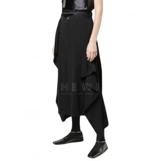 Yohji Yamamoto Black Piped Pocket Midi Skirt