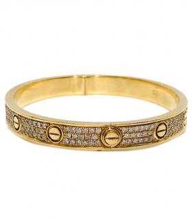 Bespoke 18k yellow gold and diamond bangle