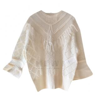 Dior Cream Sheer Knit Mohair Fringe Sweater