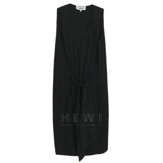 Yves Saint Laurent Black Pleated Midi Dress