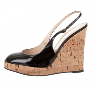 Yves Saint Laurent Black Patent Slingback Sandals