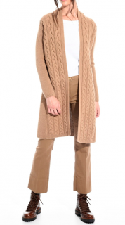 Max Mara Camel Wool & Cashmere Cable Knit Cardigan