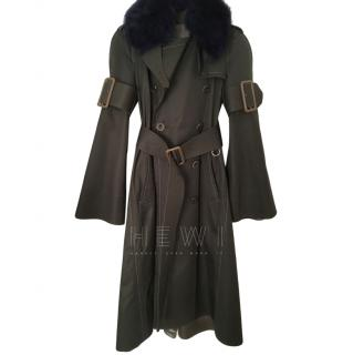 Sacai khaki maxi trench coat with detachable sheepskin collar