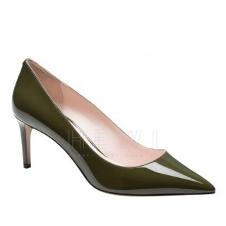 Bally Khaki Mid Heel Patent Pumps