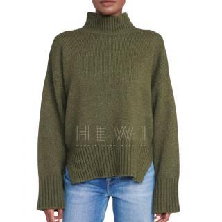 Frame Khaki soft cashmere blend rollneck jumper