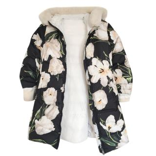 Dolce & Gabbana Girl's 7/8 Years Floral Print Puffer Coat
